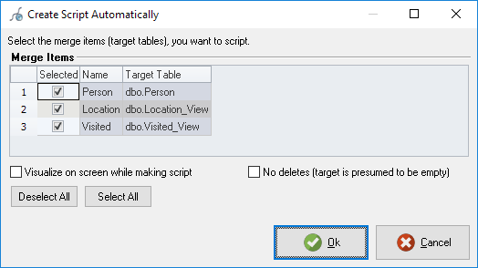 Create script window previewing the operation